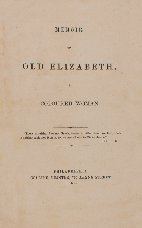Memoir of Old Elizabeth, A Coloured Woman