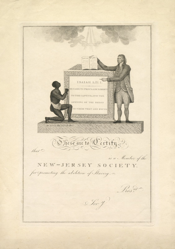 Membership Certificate for the New Jersey Society for Promoting the Abolition of Slavery