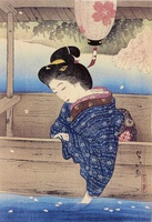 Cherry Blossoms on a Boat on Oi River, from 'The First Series Selected Views of Kyoto'
