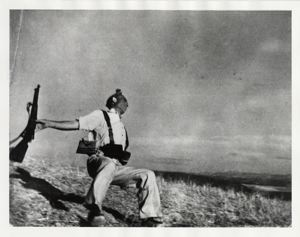 Robert Capa, Loyalist Militiaman at the Moment of Death, Cerro Muriano, September 5, 1936 (Falling Soldier), 1936 (courtesy of Magnum Photos).