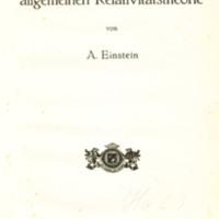 Die Grundlage der allgemeinen Relativitätstheorie
